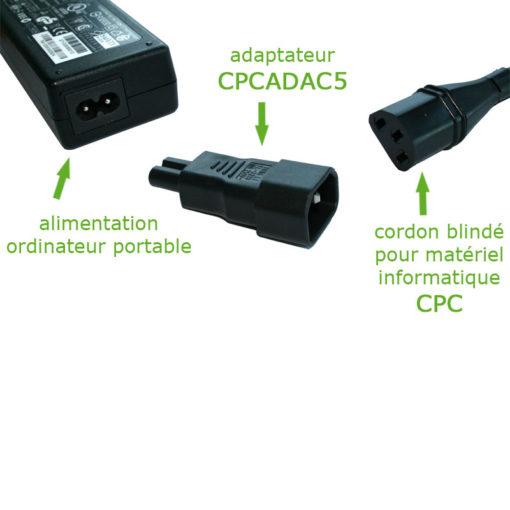 Adaptateur 2 pôles C7 pour cordon blindé pour matériel informatique