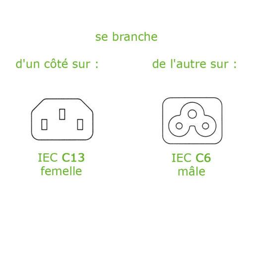 Adaptateur 3 pôles C5 pour cordon blindé pour matériel informatique