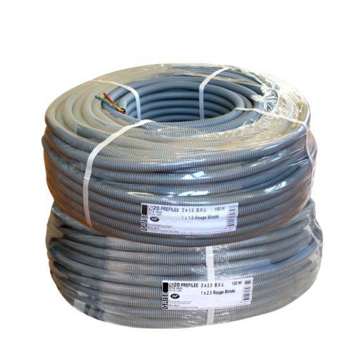 Gaine préfilée ICT20 3G1.5 et 3G2.5 avec fil Bleu V/J et fil de phase Rouge Blindé