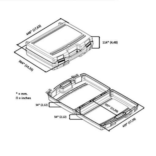 Mallette de transport en polypropylène légère et résistante avec poignée intégrée de taille (44 x 34 x 11 cm) afin de garder vos appareils de mesure à l'abri.