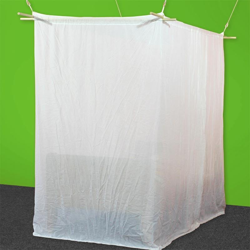 Baldaquin 1 place de forme box en tissu anti-ondes hautes (38 dB à 1 GHz) SWISS SHIELD NATURELL.