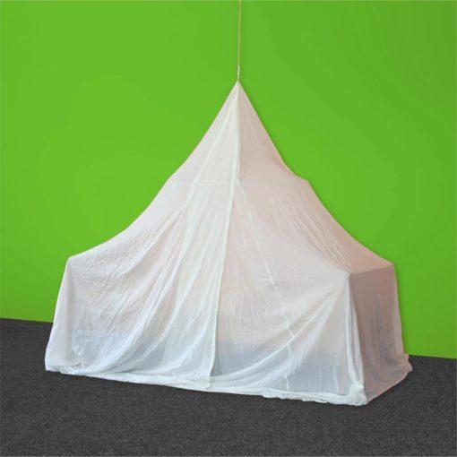 Baldaquin 1 place de forme pyramidale en tissu anti-ondes hautes (38 dB à 1 GHz) SWISS SHIELD NATURELL.