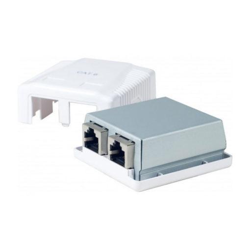 Boîtier mural 2 ports RJ45 en complément du kit ethernet IZILINK afin d'élargir votre réseau filaire.