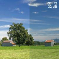 Film RDF72 anti-onde laissant passer 72% de la lumière et atténuant les hyperfréquences de 32dB.