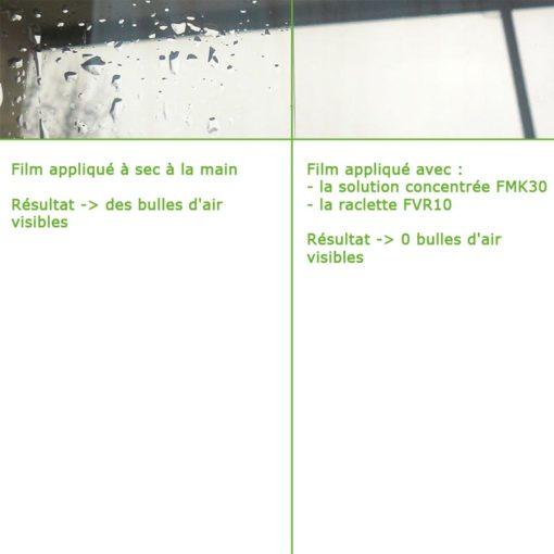 Raclette FVR10 afin de faciliter la pose du films anti-ondes.