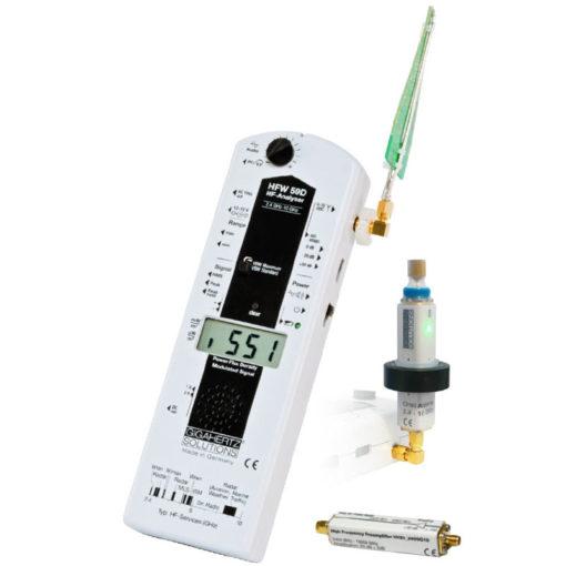 le kit de mesure professionnel d'hyperfréquences GIGAHERTZ SOLUTIONS HFW59D permet les mesures de champs électromagnétiques professionnelles sur la bande de fréquences de 2.4 GHz à 10 GHz grâce à ses 2 antennes (log-per et omni-directionnelle UBB2410) et son pré-amplificateur HV20_2400G10.