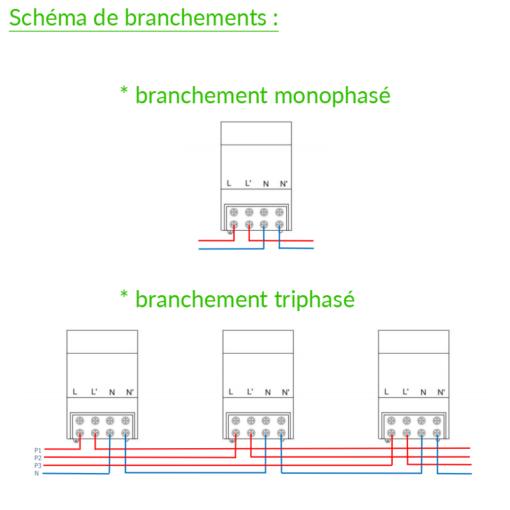 branchement filtre cpl linky prostop65 pour installation monophasé et triphasé