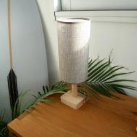 lampe à poser blindée sans champs électriques. fabrication française (bretagne), coton bio, hêtre, huile naturelle.
