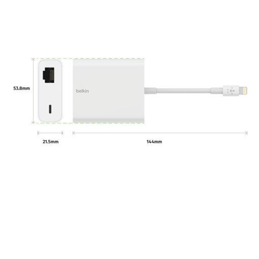 adaptateur ethernet + Lightning pour ipad, iphone te ipod (belkin b2b165)