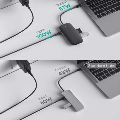 Hub USB type C multifonction 8 en 1 pour ordinateur portable (macbook, ultrabook, notebook, zenbook, chromebook,...)