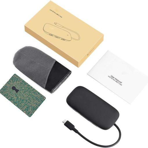 Hub USB type C multifonction 8 en 1 pour ordinateur portable (macbook, ultrabook, notebook, zenbook, chromebook,...) avec une housse de transport