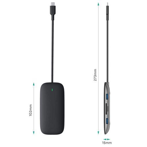 Hub USB type C multifonction 8 en 1 pour ordinateur portable (macbook, ultrabook, notebook, zenbook, chromebook,...) compact et léger