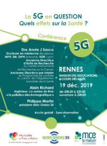 conférence : la 5G en question. Quels effets sur la santé ? Avec la docteure Annie J Sasco, Alain Richard et Philippe Martin. A Rennes, maison des associations, 6 cours des alliés le 19 décembre 2019 de 20h30 à 22h30.