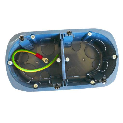 boitier électrique blindée / faradisé double rond multimatériaux (tout type de cloisons : maçonnerie, cloisons sèches) diamètre 67 mm profondeur 50 mm