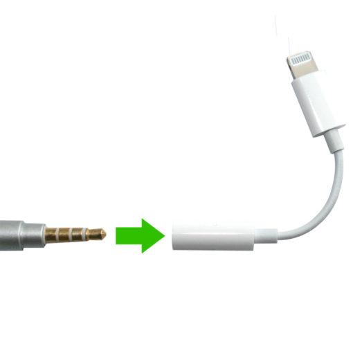 Adaptateur Lightning vers mini-jack 3,5 mm permettant d'utiliser un kit oreillette anti-ondes avec votre Iphone ou Ipad