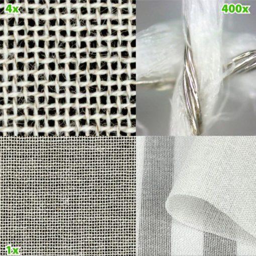 Tissu anti-ondes SILVER-COTTON de chez Yshield avec une atténuation des hyperfréquences jusqu'à 42 dB( environ 99.99 % d'atténuation) et des champs électriques basses fréquences lorsqu'il est raccordé à la terre